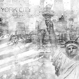 Melanie Viola - MANHATTAN Skyline - Graphic Art - white