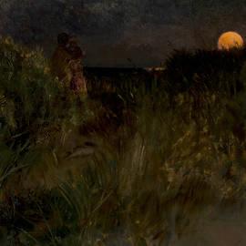 Eilif Peterssen - Moonrise over the dunes