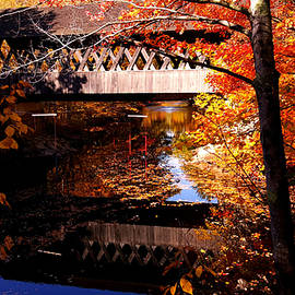 Jeff Folger - Morning autumn glow on Keniston covered bridge