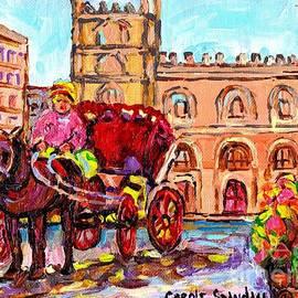Landmark Painting Notre Dame Cathedral Caleche Summer Scene Canadian Art Carole Spandau by Carole Spandau