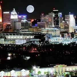 Skyline Photos of America - Queen City Full Moon