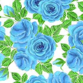 Katerina Kirilova - Red roses watercolor seamless pattern