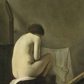Paulus Bor - Seated Nude Bathing By A Stove