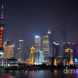 Imran Ahmed - Shanghai China skyline at night from Bund