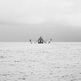 Shrimp Boat in the Pass - BW by Scott Pellegrin