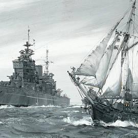 The battleship H.M.S - Montague Dawson