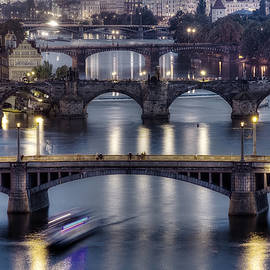 Isaac Silman - The Bridges of Prague at dusk