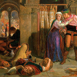 The flight of Madeline and Porphyro during the drunkenness attending the revelry - William Holman Hunt