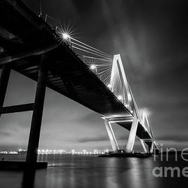Charleston Arthur Ravenel Suspension Bridge  at Night by Norma Brandsberg
