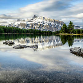 Two Jack Lack with Reflection of Mt. Rundle Banff National Park by Yves Gagnon