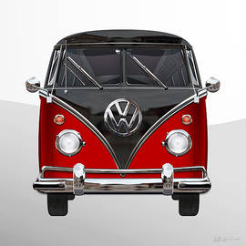 Volkswagen Type 2 - Red and Black Volkswagen T 1 Samba Bus on White