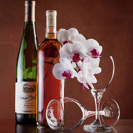Tom Mc Nemar - Wine and Orchids Still Life