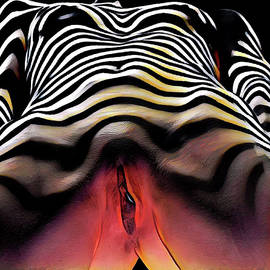 1290s-ak Aroused Woman Vulval Portrait Zebra Striped Woman Rendered In Pastel Style by Chris Maher