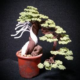 Ricks Tree Art - #141  Cloth wrapped wire tree sculpture