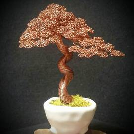Ricks Tree Art - #143 Bright Copper Wire Tree Sculpture