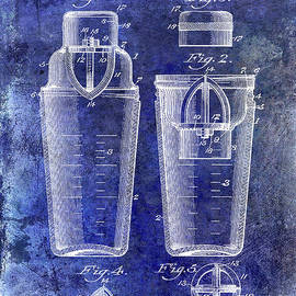 1913 Cocktail Shaker Patent Blue - Jon Neidert