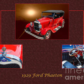 1929 Ford Phaeton Classic Car Antique Collage In Red Color 3515. by M K Miller