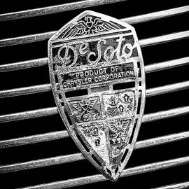 1936 Desoto Airstream Grille Emblem -1886bw by Jill Reger