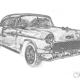 Christine Dekkers - 1955 Bel Air Chevrolet Pencil Drawing