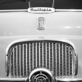 1956 Fiat 600 Multipla Grille Emblem -0133bw by Jill Reger