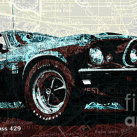 1969 Ford Mustang Boss 429 classic car on Los Angeles California Holywood map by Drawspots Illustrations