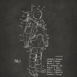 1973 Space Suit Patent Inventors Artwork - Gray by Nikki Marie Smith