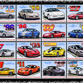 1978 - 2013 Special Edition Corvette Postage Stamps by K Scott Teeters