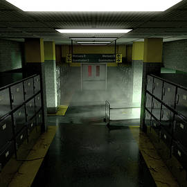 A look down the aisle of fridges of a dimly lit ward in a mortuary with an empty gerney in the dista - Allan Swart