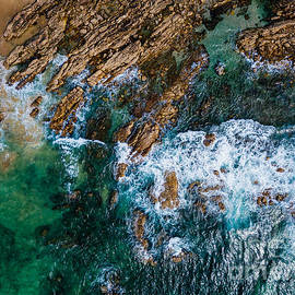 Radu Bercan - Aerial Drone View Of Dramatic Ocean Waves Crushing On Rocky Landscape