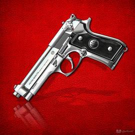 Beretta 92FS Inox over Red Leather