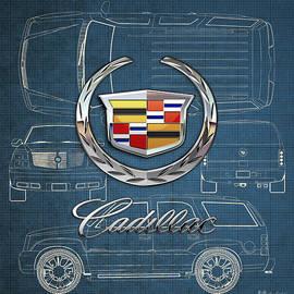 Cadillac 3 D Badge over Cadillac Escalade Blueprint