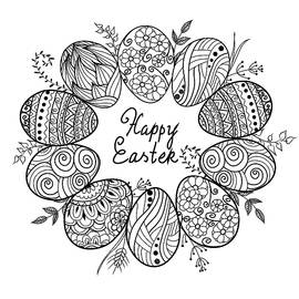 Xen ART - Happy Easter banner. Zen tangle eggs with decorative ornamental elements,rabbits,bunny.