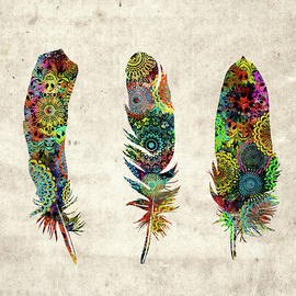native mandala feathers  - Bekim Art