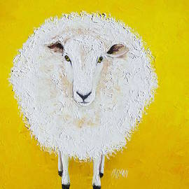 Jan Matson - Sheep painting on yellow background