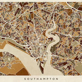 Southampton England City Map - Michael Tompsett