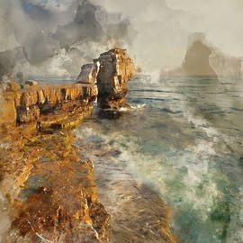 Matthew Gibson - Watercolor painting of Stunning geological rock cliff formations