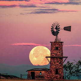 Windmill At Moonset by Tim Kathka