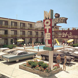 24th Street Motel, North Wildwood, NJ 1960's Neon Sign, Old Cars and Bathing Suits by Retro Views