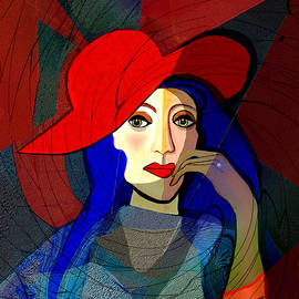 Irmgard Schoendorf Welch - 259 - Lady with blue  hair and a red hat 2017