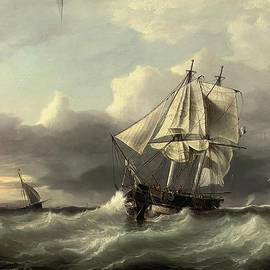 Johannes Frederick - A French coastal trader anchored in a heavy swell off the low countries