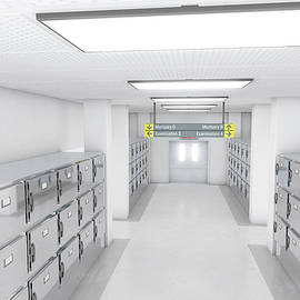 A look down the aisle of fridges in a clean white ward in a mortuary - 3D render - Allan Swart