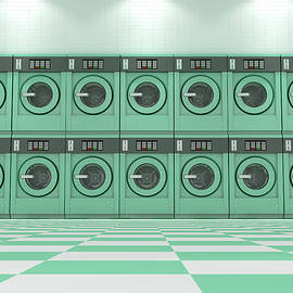 A wall of a well lit clean stack of turquoise industrial washing machines in a laundromat - 3D rende - Allan Swart
