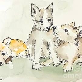 3 Fox Pups by Maria Langgle