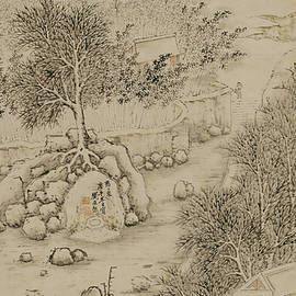 asian art - Ink painting landscape House