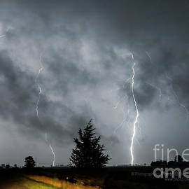 Photography By Phos3 Kathryn Parent and Dave Paddick - 3 Lightning Bolts Through The Clouds