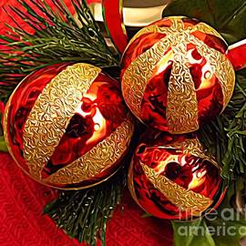 Rose Santuci-Sofranko - 3 Red and Gold Ornaments Pine Needles Expressionist Effect