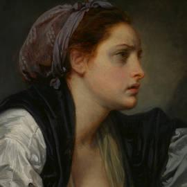 Study Head of a Woman - Jean-Baptiste Greuze