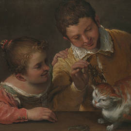 Two Children Teasing a Cat - Annibale Carracci