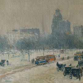 Winter In Union Square by Childe Hassam