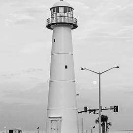 Biloxi Lighthouse with Moon - BW by Scott Pellegrin